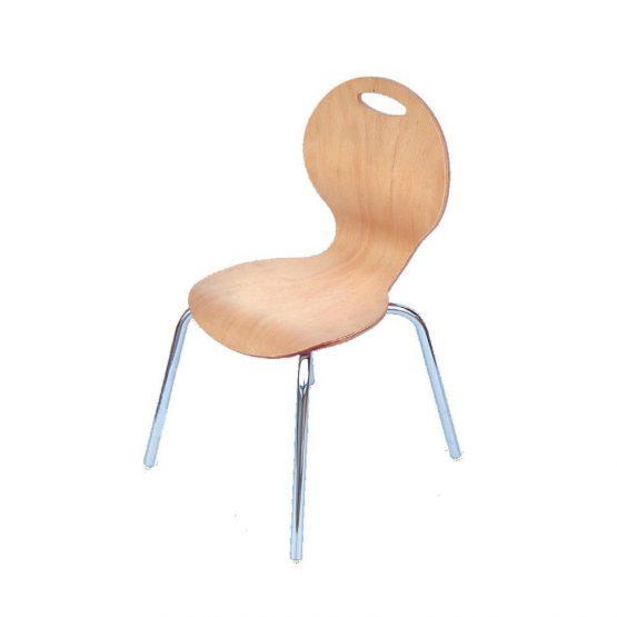 Metal Ayaklı Doğal İstiflenebilir Ahşap Sandalye