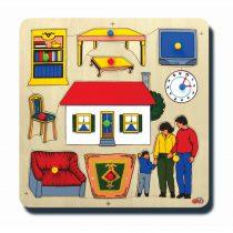 10005Evimiz ve ailemiz 33x33cm Kulplu 10 parça Ahşap Puzzle