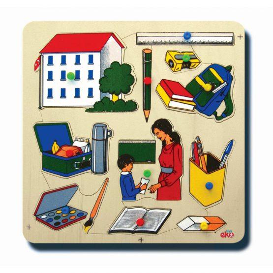 10015Okulumuz 33x33cm Kulplu 12 parça Ahşap Puzzle