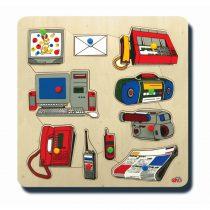 10045İletişim Araçları 33x33cm Kulplu 11 parça Ahşap Puzzle