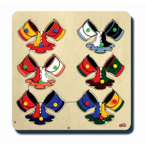 10055Renklerin oluşumu 33x33cm Kulplu 12 parça Ahşap Puzzle