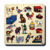 50015Hayvanlar ve Barınakları 33x33cm Kulplu 19 parça Ahşap Puzzle