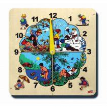 40010Saat kadranı Dört mevsim Puzzlelu 17 parça Ahşap Puzzle