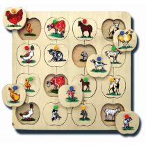 90005Hayvanlar ve Yavruları 33x33cm Kulplu 16 parça Ahşap Puzzle