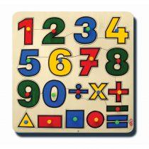 60010Matematik öğreniyorum 33x33cm Kulplu 19 parça Ahşap Puzzle