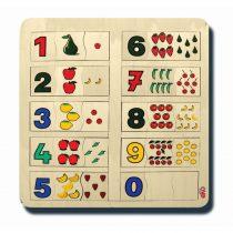 60030Sayılar ve kümeler 1-10 33x33cm Kulplu 30 parça Ahşap Puzzle