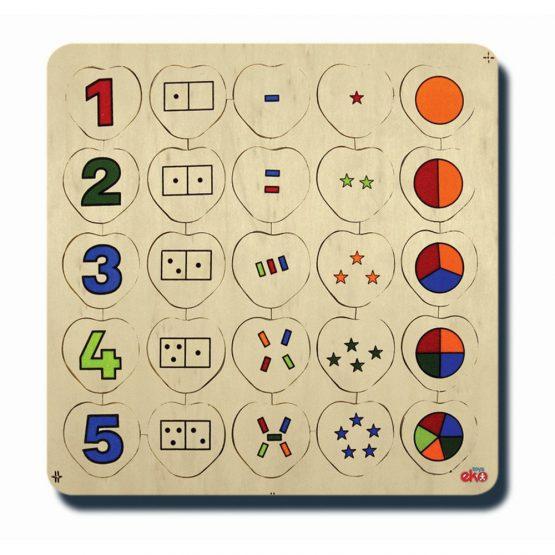 60040Sayılar ve kümeler 1-5 33x33cm Kulplu 25 parça Ahşap Puzzle