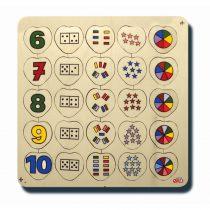 60050Sayılar ve kümeler 6-10 33x33cm Kulplu 25 parça Ahşap Puzzle