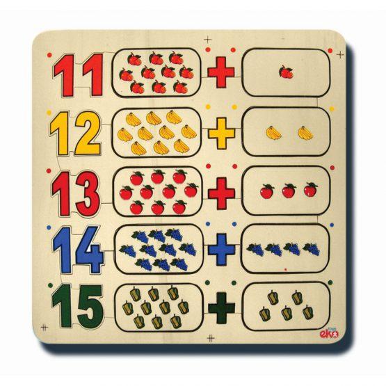 60070Sayılar ve kümeler 11-15 33x33cm Kulplu 20 parça Ahşap Puzzle