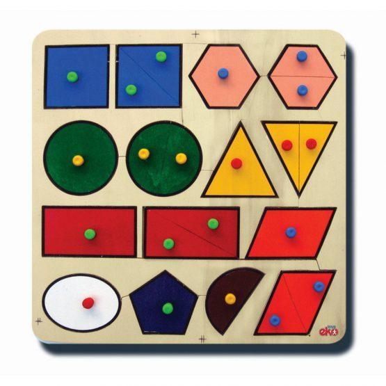 60060Şekiller renkler 33x33cm Kulplu 12 parça Ahşap Puzzle