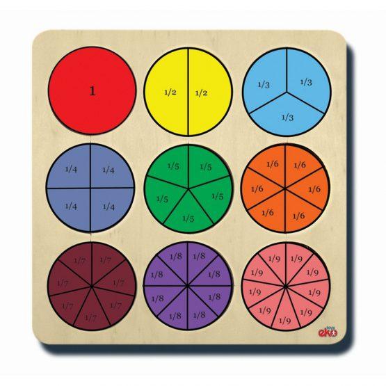 50090Kesirler (renk ve parça bütün kavramlı) 33x33cm Aşap Puzzle