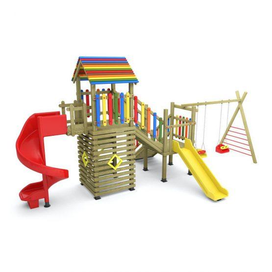 2 Kuleli 2 Salıncaklı Oyun Evli Oyun Parkı